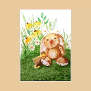 Când o bunică te roagă să faci o #ilustrație pentru nepoțica ei, e clar că ai o misiune cât se poate de serioasă.  Rilă-iepurilă a ajuns cu bine la destinație, pregătit să vegheze somnul bobocilor acum și oricând e nevoie. 🥰 Sărbători fericite! 🐇🐥🥚 Acuarelă: #KuretakeGansaiTambi pe hârtie #Hahnemühle Anniversary Edition, 425 g/mp, 30x40cm/40-50cm cu passepartout #Caneva #ilustratiepentrucopii #acuarela #iepuraș #boboc #paștefericit #childrenillustration #natureinspired #watercolor #rabbit #ducklings #watercolorbunny #safe #family #sleep #dreams